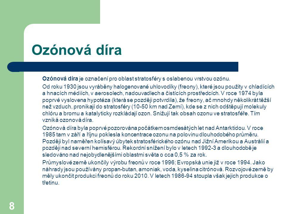 Ozónová díra Ozónová díra je označení pro oblast stratosféry s oslabenou vrstvou ozónu.