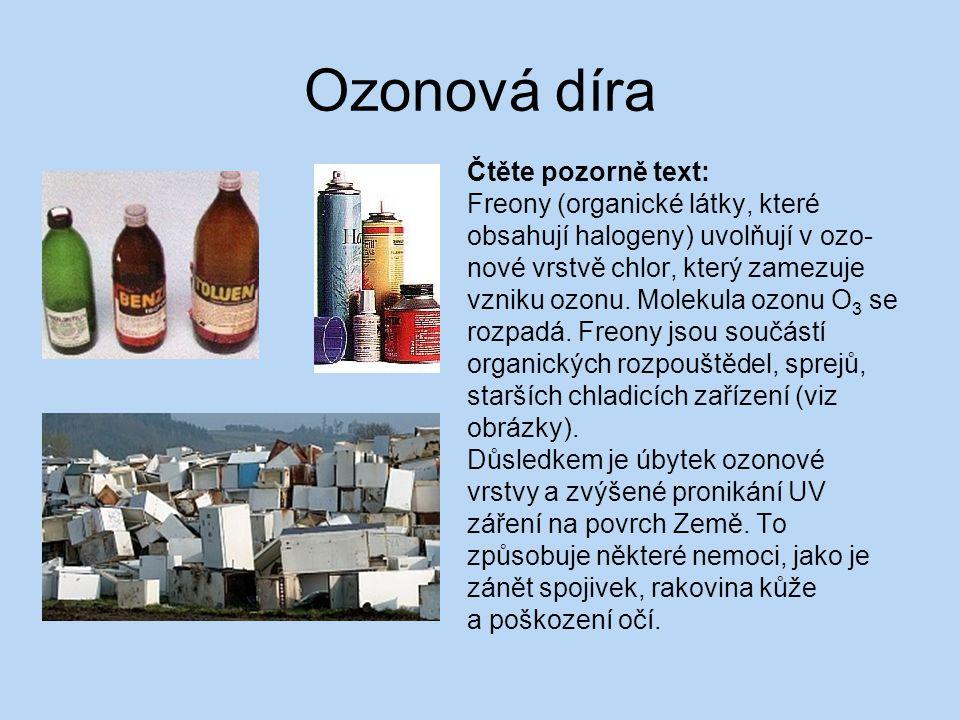 Ozonová díra Čtěte pozorně text: Freony (organické látky, které