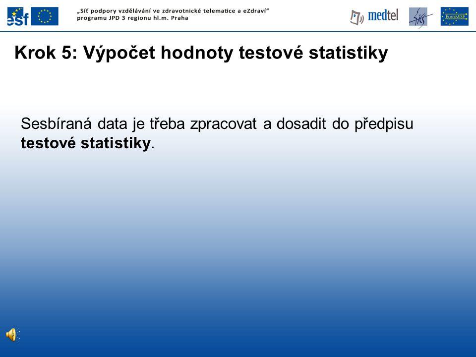 Krok 5: Výpočet hodnoty testové statistiky
