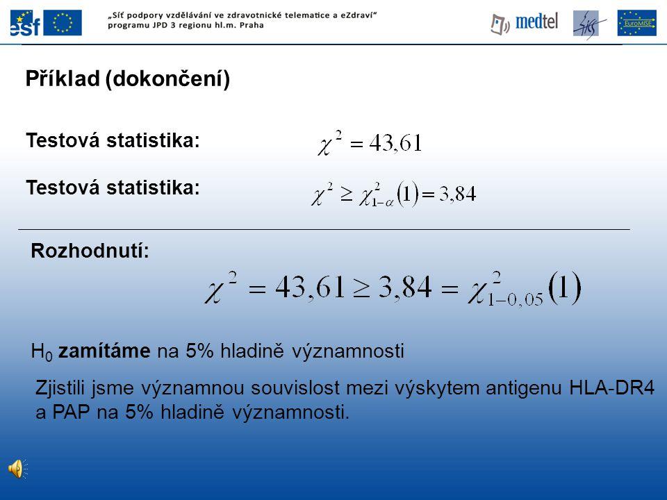 Příklad (dokončení) Testová statistika: Testová statistika: