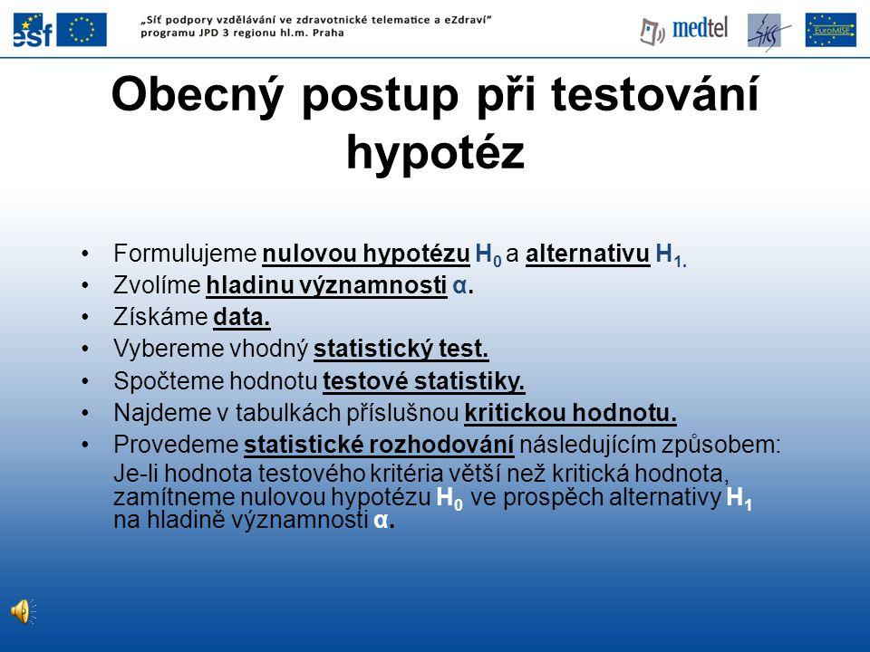 Obecný postup při testování hypotéz