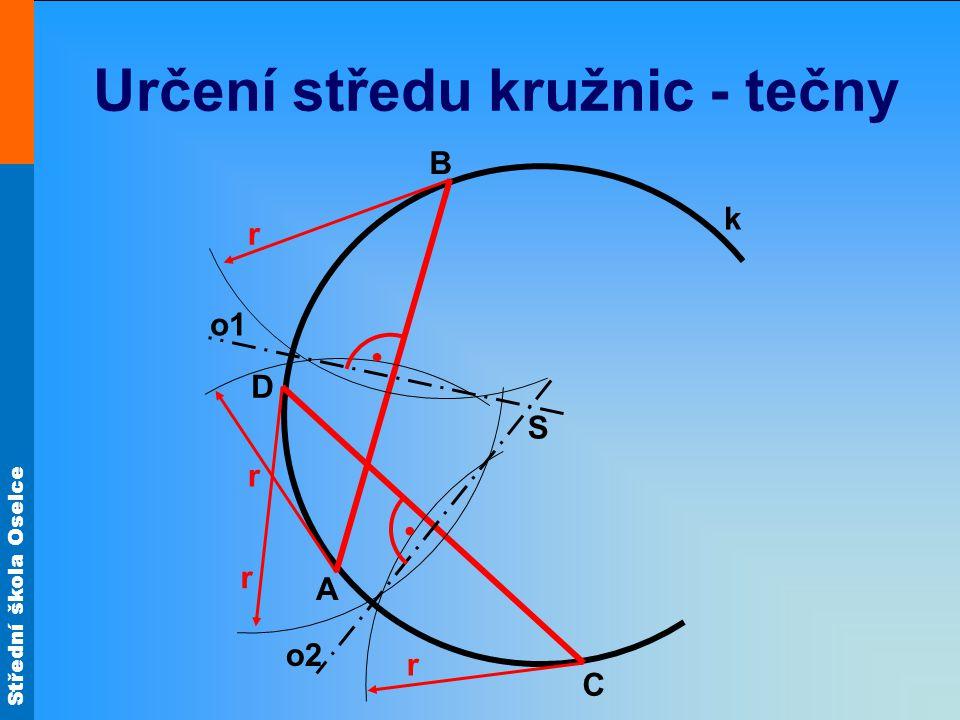 Určení středu kružnic - tečny