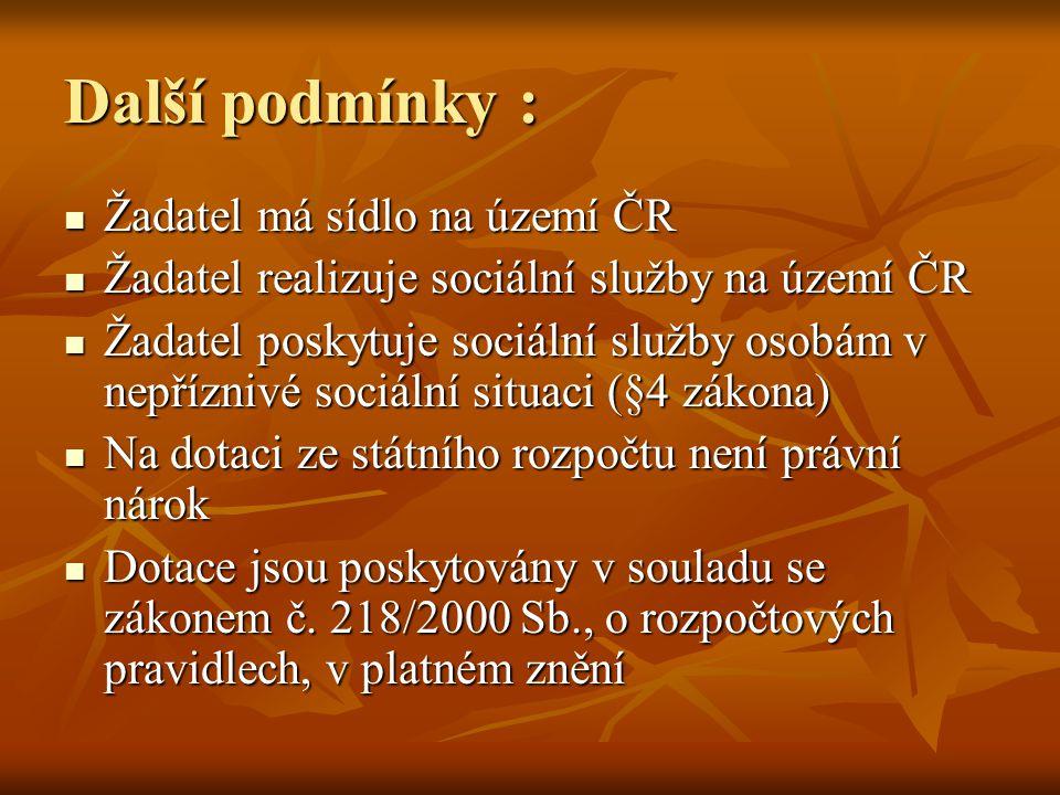Další podmínky : Žadatel má sídlo na území ČR