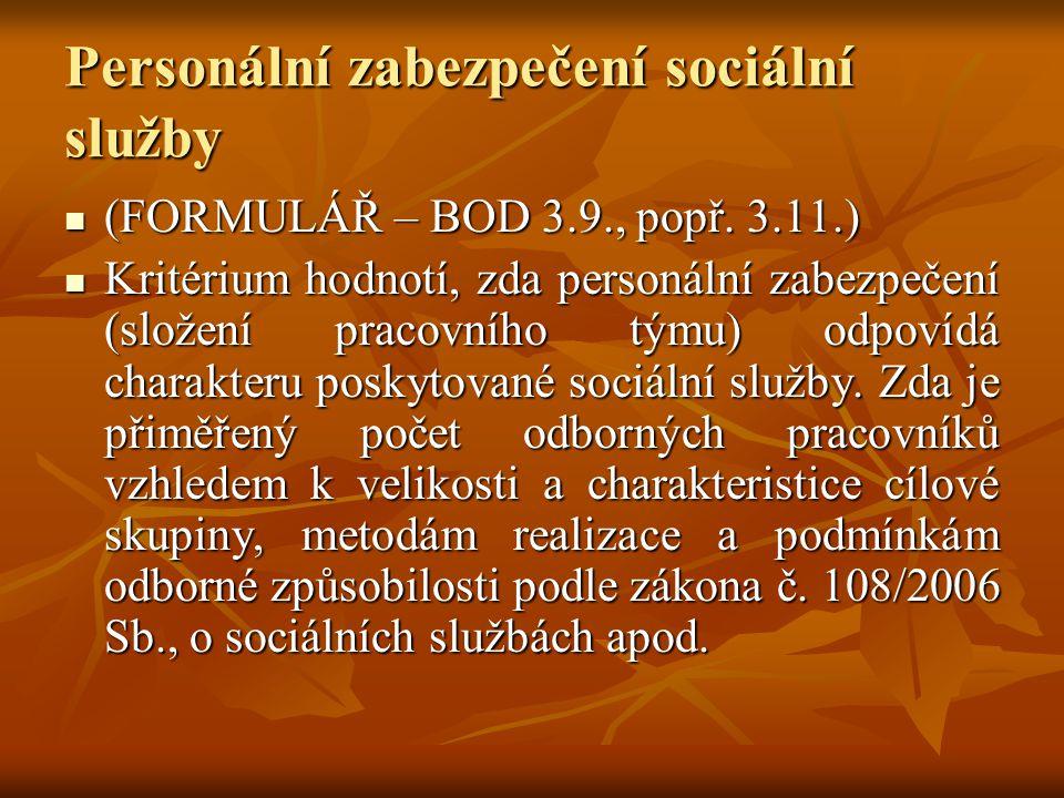 Personální zabezpečení sociální služby