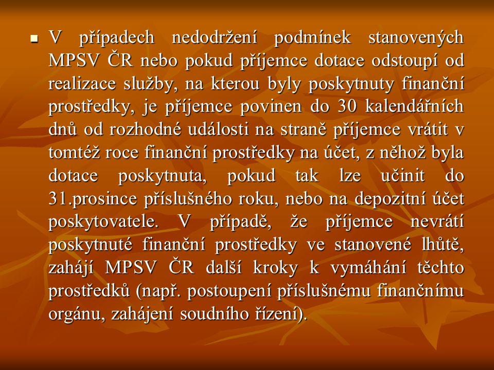 V případech nedodržení podmínek stanovených MPSV ČR nebo pokud příjemce dotace odstoupí od realizace služby, na kterou byly poskytnuty finanční prostředky, je příjemce povinen do 30 kalendářních dnů od rozhodné události na straně příjemce vrátit v tomtéž roce finanční prostředky na účet, z něhož byla dotace poskytnuta, pokud tak lze učinit do 31.prosince příslušného roku, nebo na depozitní účet poskytovatele.