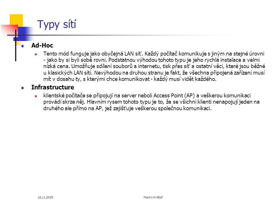 Typy sítí Ad-Hoc Infrastructure