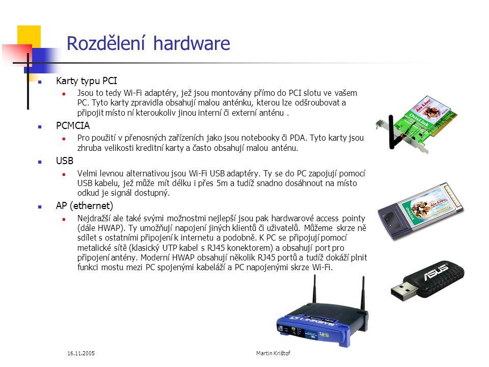 Rozdělení hardware Karty typu PCI PCMCIA USB AP (ethernet)