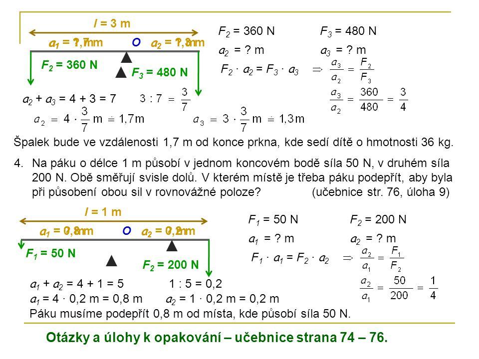 Otázky a úlohy k opakování – učebnice strana 74 – 76.