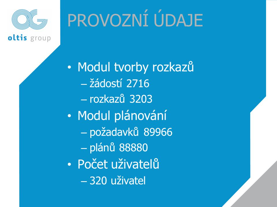 Provozní údaje Modul tvorby rozkazů Modul plánování Počet uživatelů