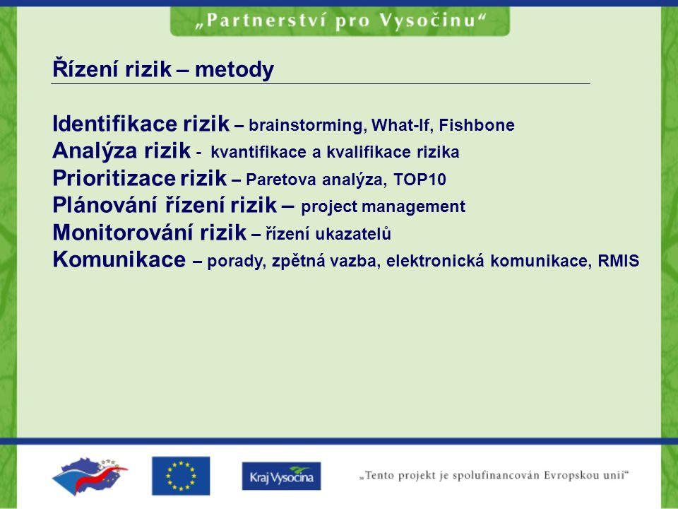 Řízení rizik – metody Identifikace rizik – brainstorming, What-If, Fishbone. Analýza rizik - kvantifikace a kvalifikace rizika.