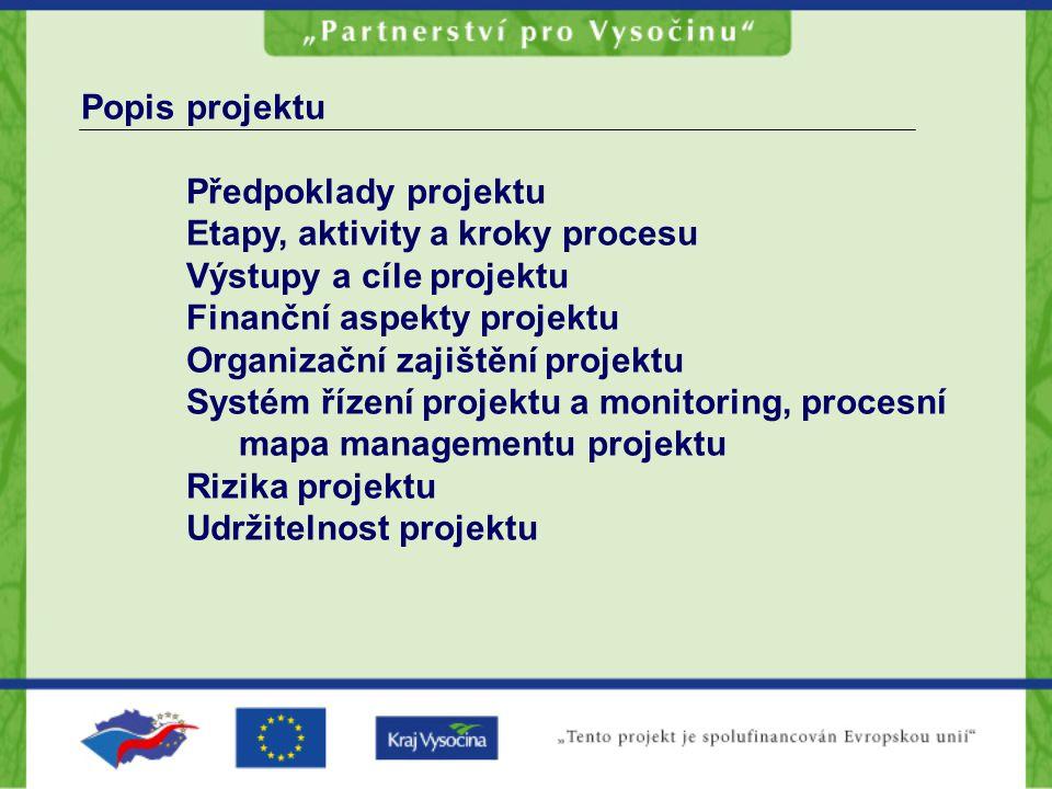 Popis projektu Předpoklady projektu. Etapy, aktivity a kroky procesu. Výstupy a cíle projektu. Finanční aspekty projektu.