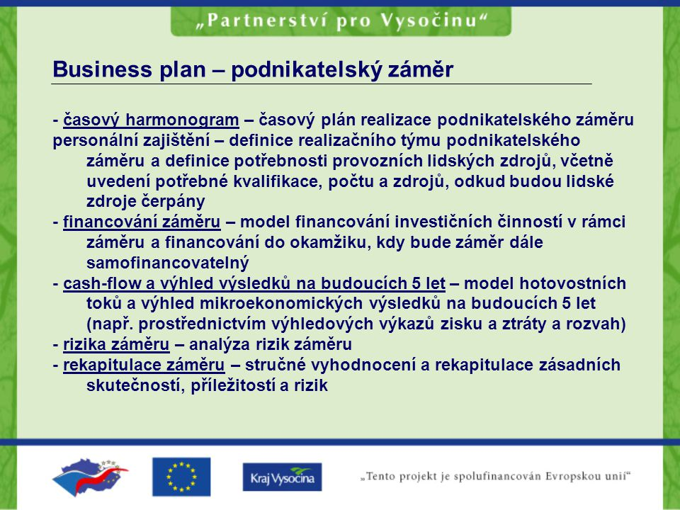 Business plan – podnikatelský záměr