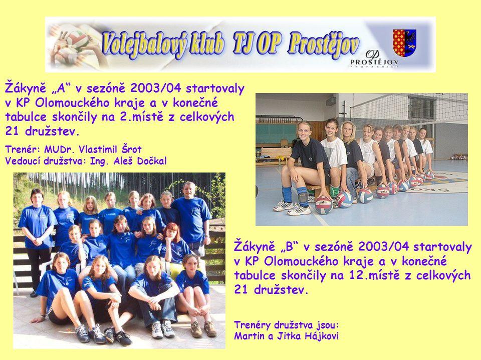 """Žákyně """"A v sezóně 2003/04 startovaly v KP Olomouckého kraje a v konečné tabulce skončily na 2.místě z celkových 21 družstev."""