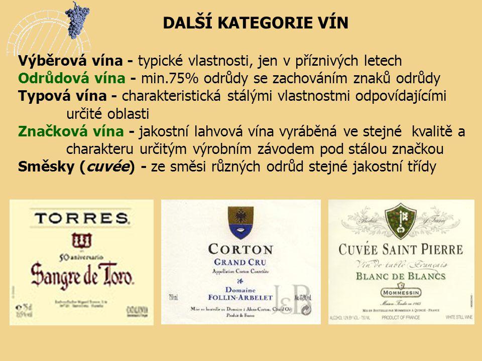 DALŠÍ KATEGORIE VÍN Výběrová vína - typické vlastnosti, jen v příznivých letech. Odrůdová vína - min.75% odrůdy se zachováním znaků odrůdy.