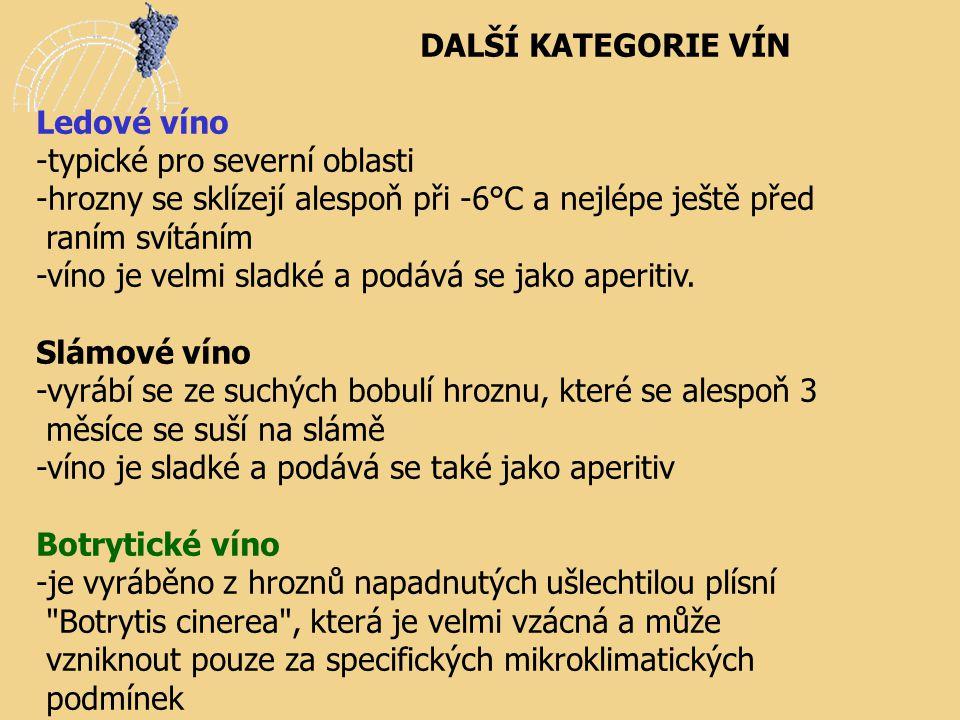 DALŠÍ KATEGORIE VÍN Ledové víno. -typické pro severní oblasti. -hrozny se sklízejí alespoň při -6°C a nejlépe ještě před.