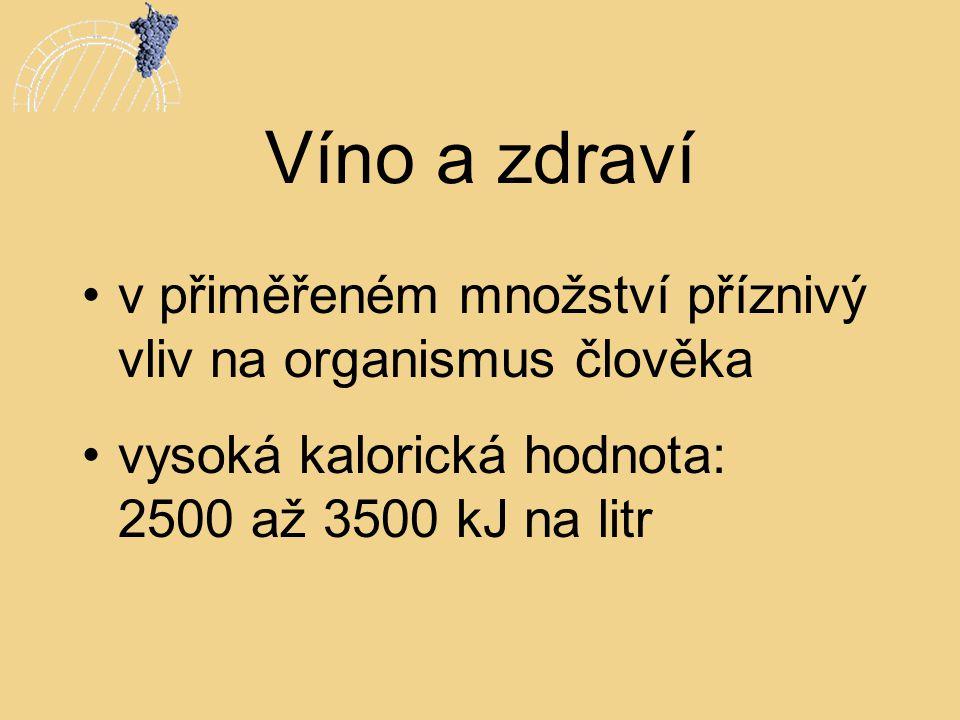 Víno a zdraví v přiměřeném množství příznivý vliv na organismus člověka.