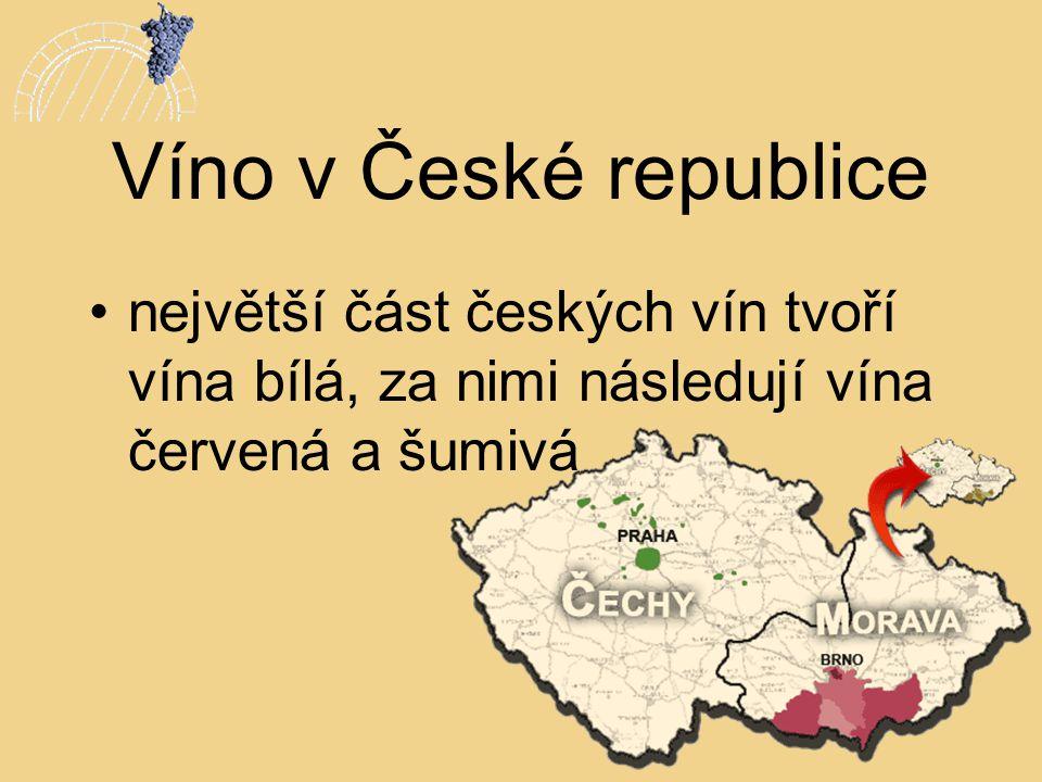 Víno v České republice největší část českých vín tvoří vína bílá, za nimi následují vína červená a šumivá.