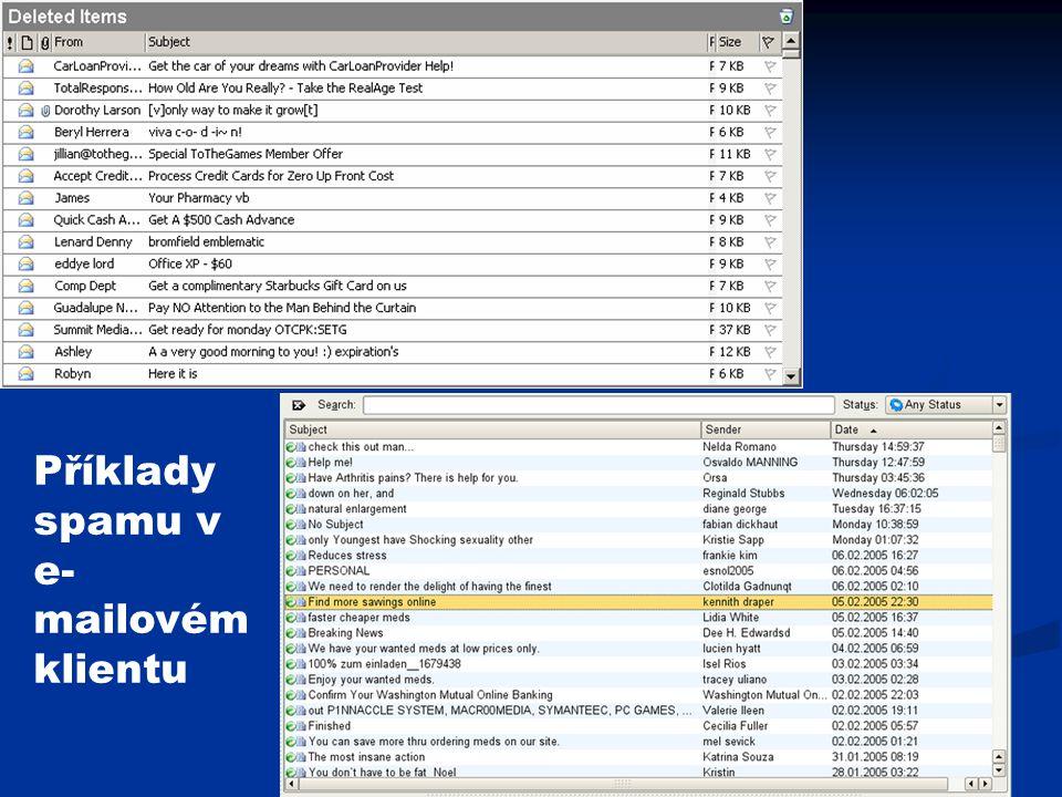 Příklady spamu v e-mailovém klientu