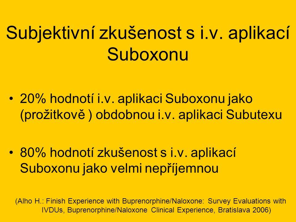 Subjektivní zkušenost s i.v. aplikací Suboxonu