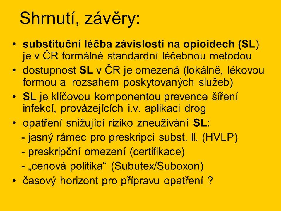 Shrnutí, závěry: substituční léčba závislostí na opioidech (SL) je v ČR formálně standardní léčebnou metodou.