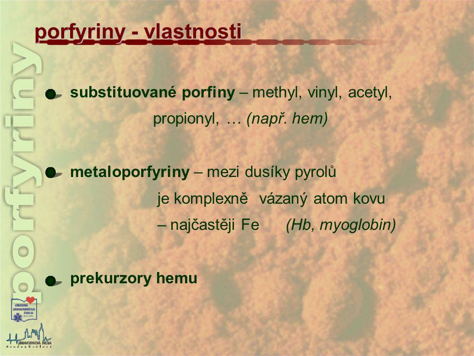porfyriny - vlastnosti