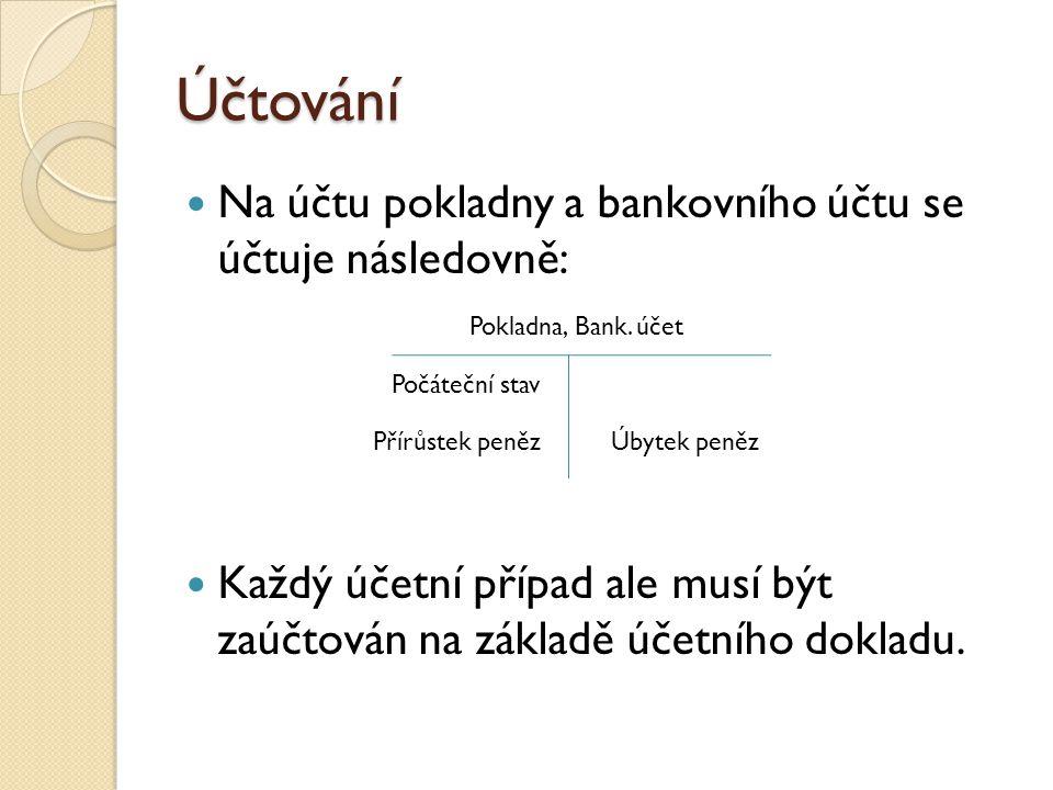 Účtování Na účtu pokladny a bankovního účtu se účtuje následovně: