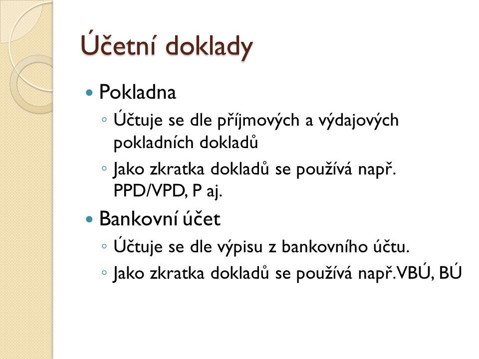 Účetní doklady Pokladna Bankovní účet