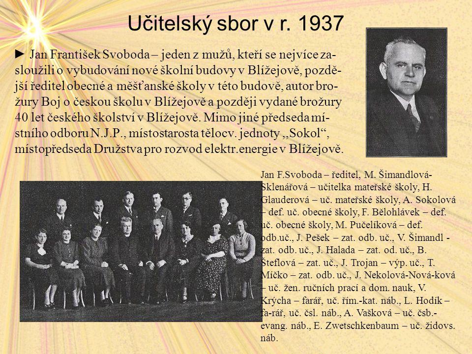 Učitelský sbor v r. 1937