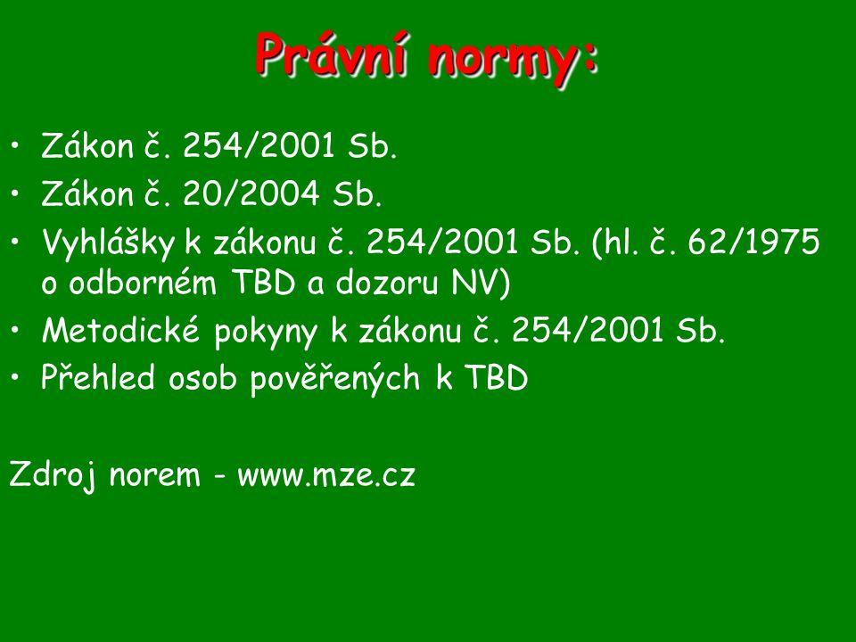 Právní normy: Zákon č. 254/2001 Sb. Zákon č. 20/2004 Sb.