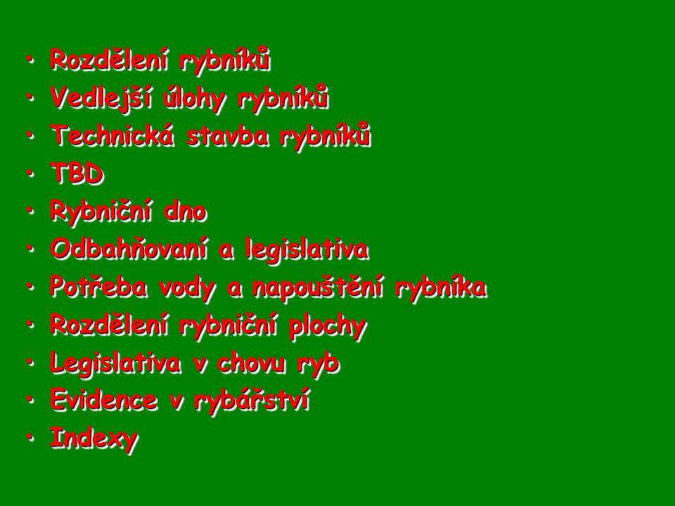 Rozdělení rybníků Vedlejší úlohy rybníků. Technická stavba rybníků. TBD. Rybniční dno. Odbahňovaní a legislativa.