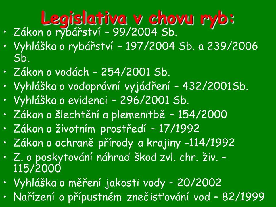 Legislativa v chovu ryb:
