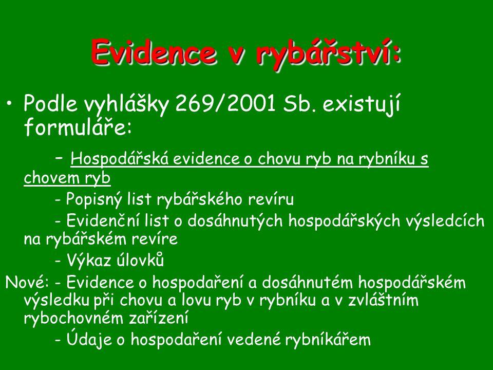 Evidence v rybářství: Podle vyhlášky 269/2001 Sb. existují formuláře: