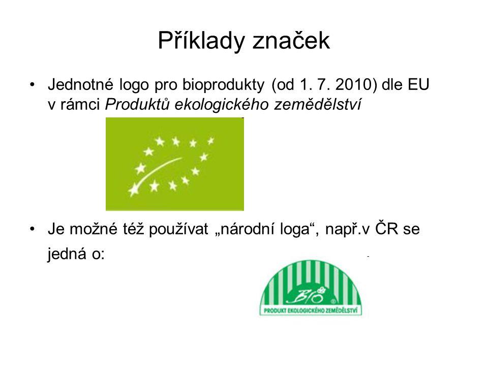 Příklady značek Jednotné logo pro bioprodukty (od 1. 7. 2010) dle EU v rámci Produktů ekologického zemědělství.