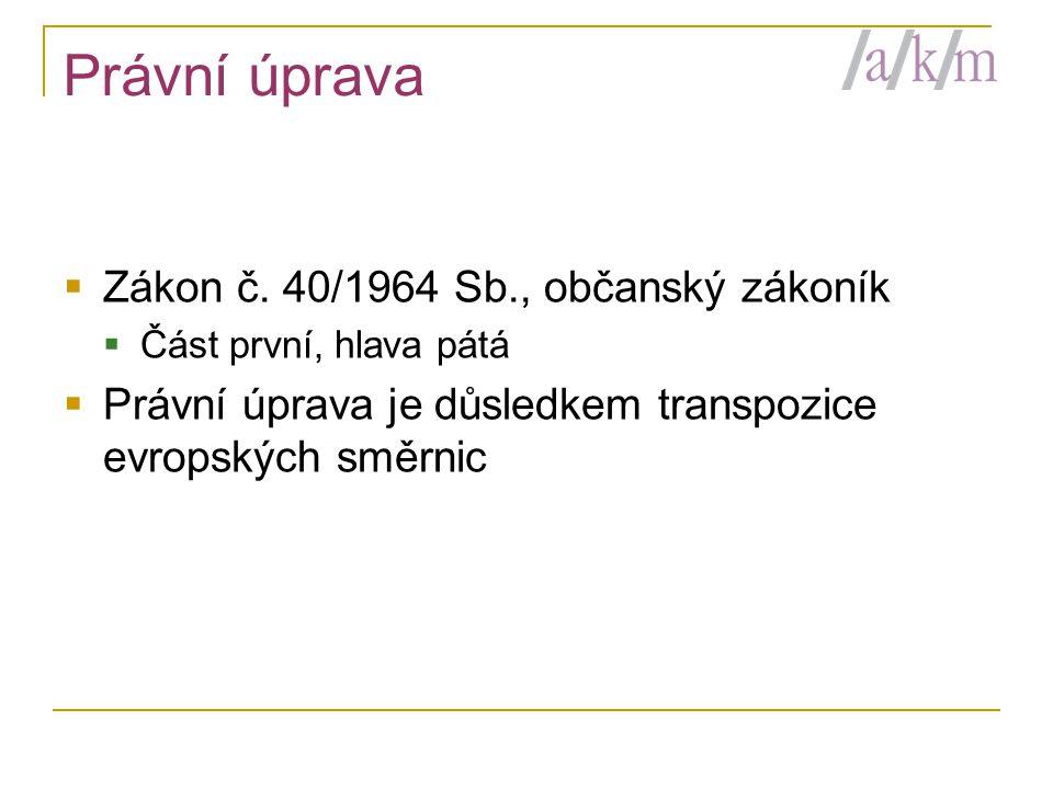 Právní úprava Zákon č. 40/1964 Sb., občanský zákoník