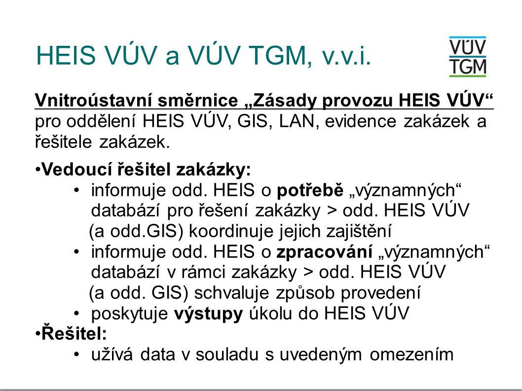 """HEIS VÚV a VÚV TGM, v.v.i. Vnitroústavní směrnice """"Zásady provozu HEIS VÚV pro oddělení HEIS VÚV, GIS, LAN, evidence zakázek a řešitele zakázek."""