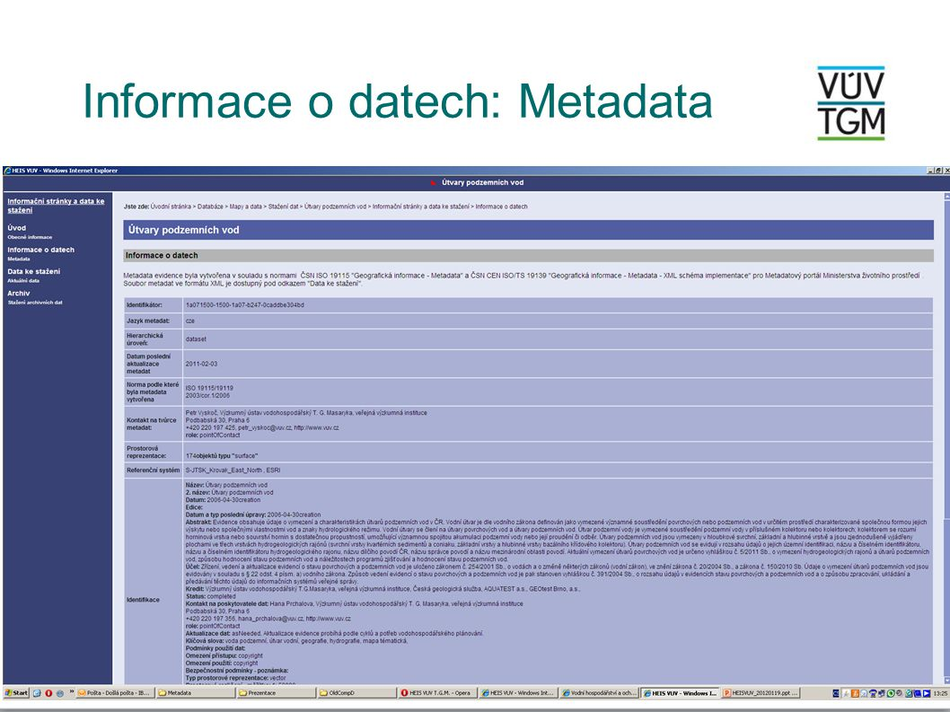 Informace o datech: Metadata