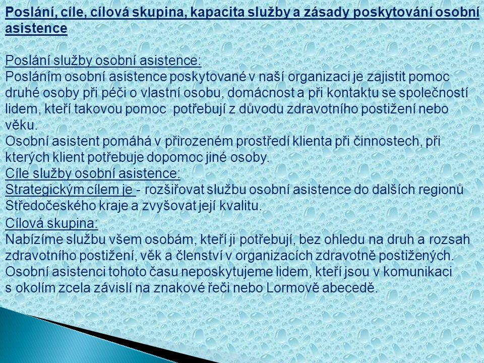 Poslání, cíle, cílová skupina, kapacita služby a zásady poskytování osobní asistence