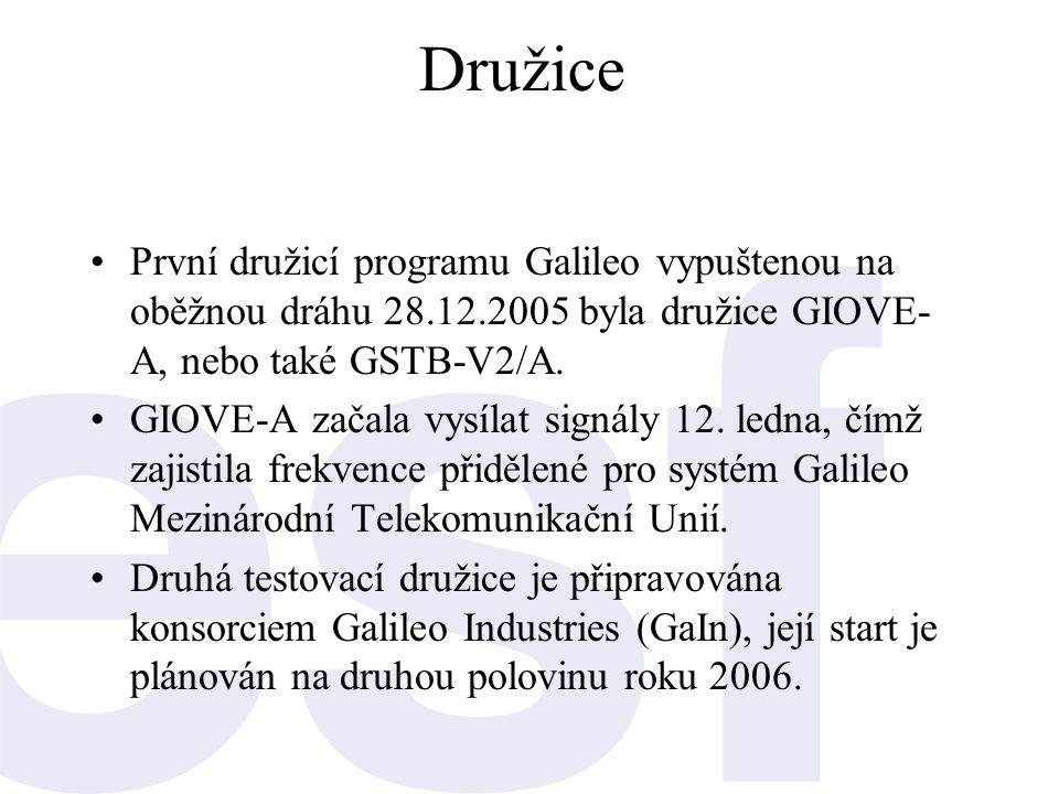 Družice První družicí programu Galileo vypuštenou na oběžnou dráhu 28.12.2005 byla družice GIOVE-A, nebo také GSTB-V2/A.