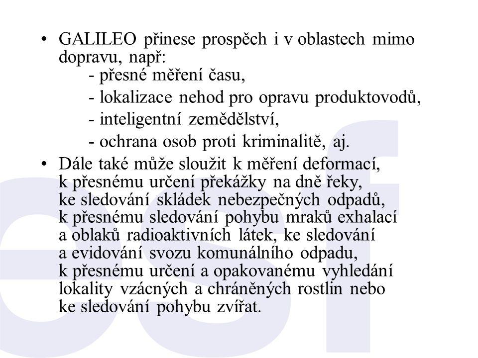 GALILEO přinese prospěch i v oblastech mimo dopravu, např: