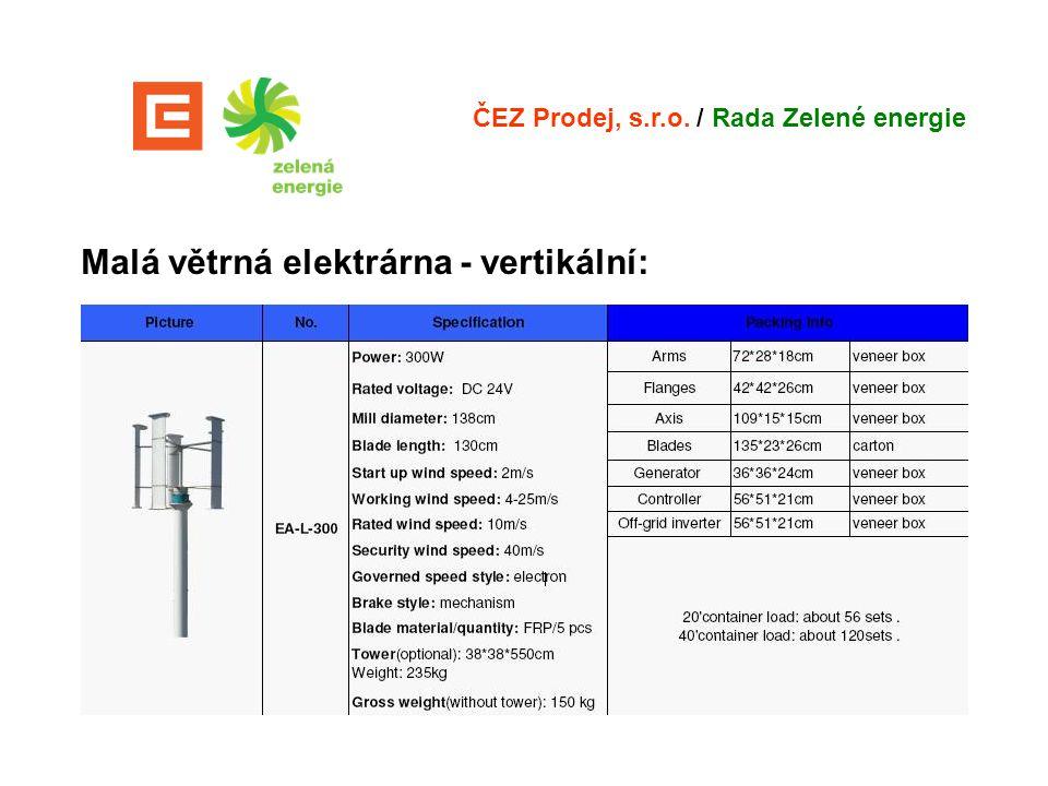 Malá větrná elektrárna - vertikální: