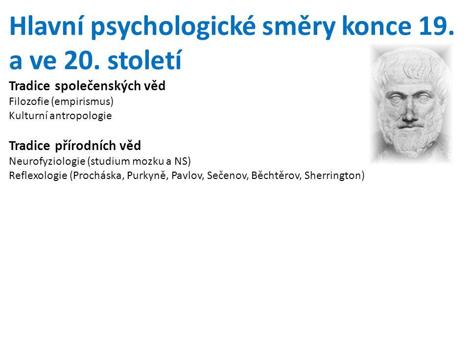 Hlavní psychologické směry konce 19. a ve 20. století