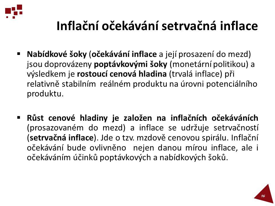 Inflační očekávání setrvačná inflace