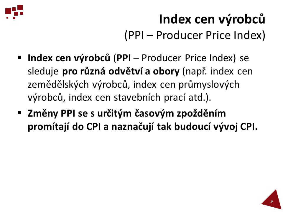 Index cen výrobců (PPI – Producer Price Index)