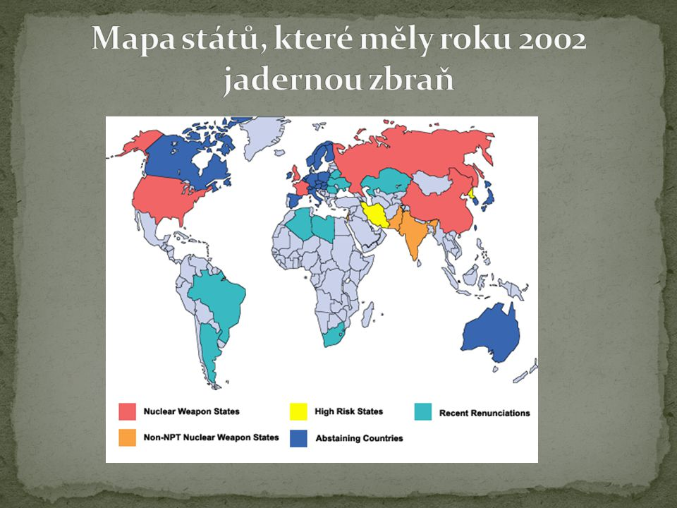 Mapa států, které měly roku 2002 jadernou zbraň