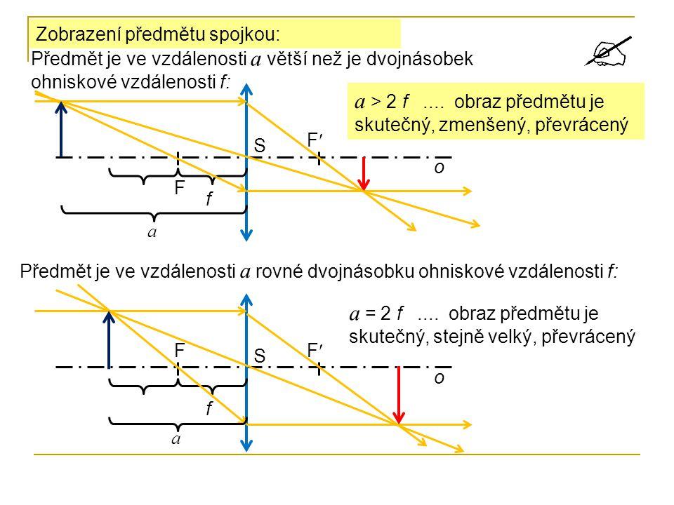 a > 2 f .... obraz předmětu je skutečný, zmenšený, převrácený
