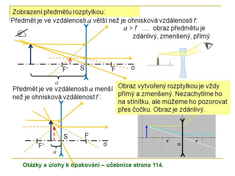 a > f .... obraz předmětu je zdánlivý, zmenšený, přímý