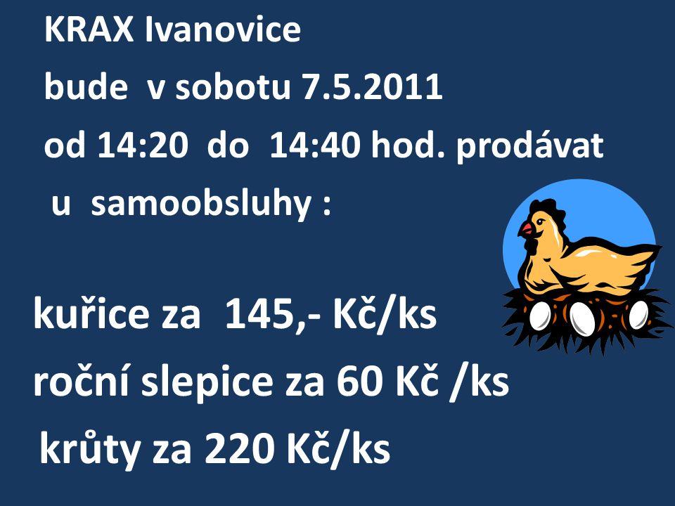 roční slepice za 60 Kč /ks krůty za 220 Kč/ks KRAX Ivanovice