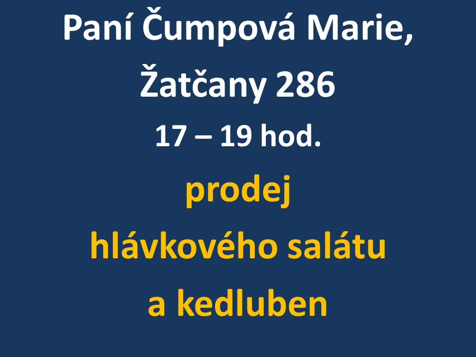 Paní Čumpová Marie, Žatčany 286 prodej hlávkového salátu a kedluben