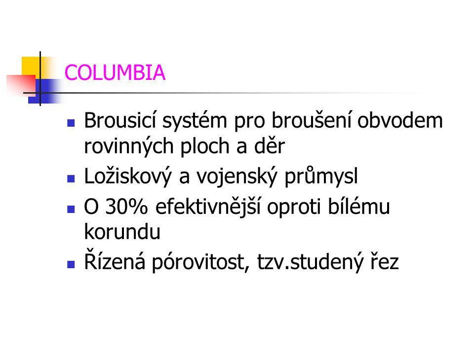 COLUMBIA Brousicí systém pro broušení obvodem rovinných ploch a děr. Ložiskový a vojenský průmysl.