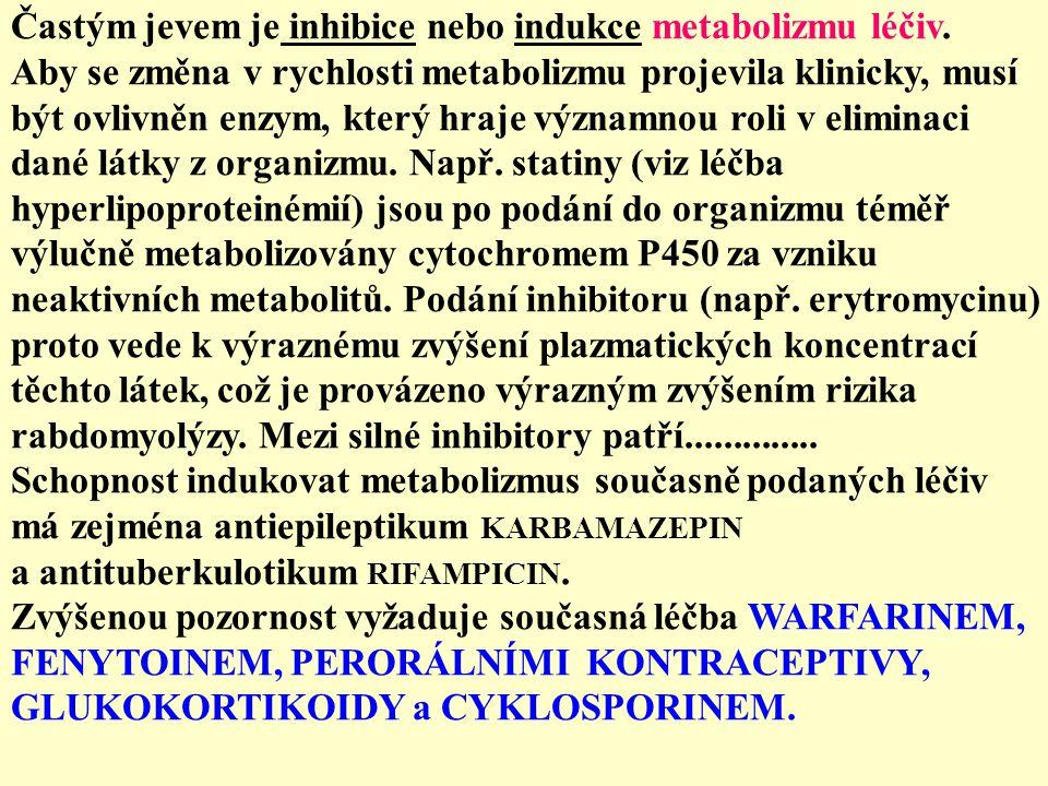 Častým jevem je inhibice nebo indukce metabolizmu léčiv.
